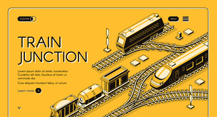 Railway transport company isometric vector web banner or landing page template with freight diesel and electric passenger locomotives, cargo wagons and tank car on train junction line art illustration
