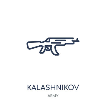 Kalashnikov icon. Kalashnikov linear symbol design from Army collection. Simple element vector illustration. Can be used in web and mobile.