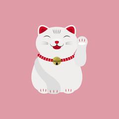 Japanese Cat Happy Face Lucky Charm Talisman Vector and Icon