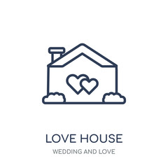 love House icon. love House linear symbol design from Wedding and love collection.