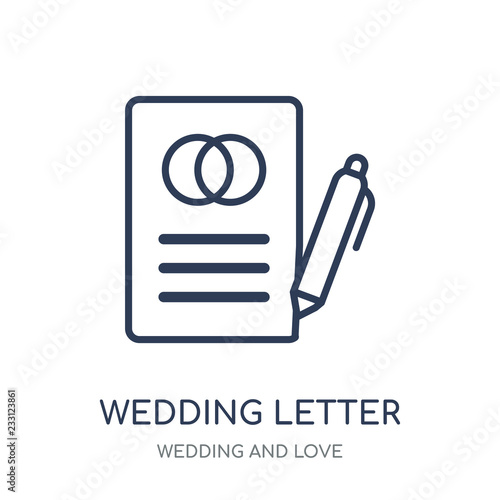 Wedding Letter Icon Wedding Letter Linear Symbol Design From