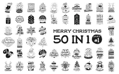 Merry Christmas typography set.