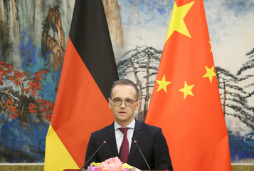 German Foreign Minister Heiko Maas attends a joint news conference with Chinese Foreign Minister Wang Yi in Beijing