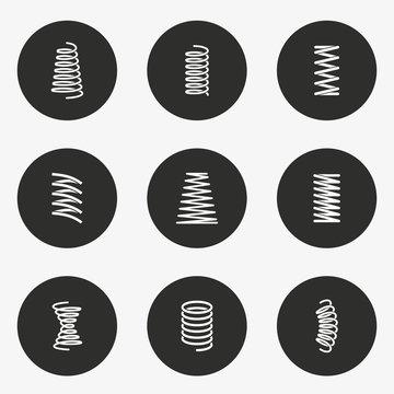 Spring icon set. Vector illustration. Round button.