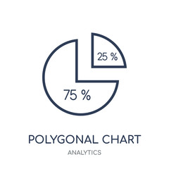 Polygonal chart icon. Polygonal chart linear symbol design from Analytics collection.