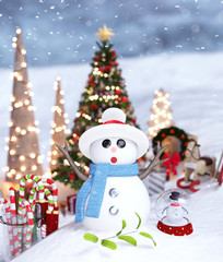 Christmas snowman and glass of candy cane on snow decorated for holidays season,3d rendering
