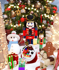 Nutcrackers toy and christmas toys decorated for holidays season,3d rendering