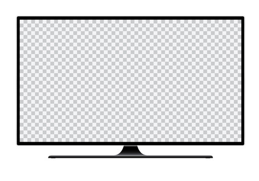 Realistic illustration of black TV with stand and blank transparent isolated screen with space for your text or image - isolated on white background