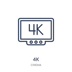 4k icon. 4k linear symbol design from Cinema collection.