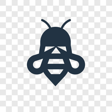Bee vector icon isolated on transparent background, Bee transparency logo design