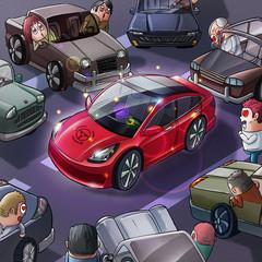 New Car Celebration. Realistic Caricature Cartoon Style, Video Game's Digital CG Artwork, Concept Illustration Design