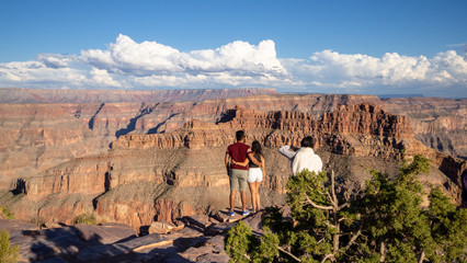 The back of a couple looking at the Grand Canyon