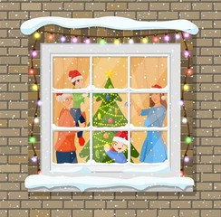 Deurstickers Imagination Christmas window in brick wall.