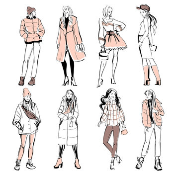 Vector fashion illustration of modern young girl models in spring autumn cloth collection isolated on white background. Hand drawn lady in sketch style. Perfect for banners, advertising, flayers etc.