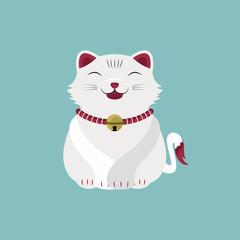 Cat Pet Happy Face Cartoon Mascot Vector and Icon