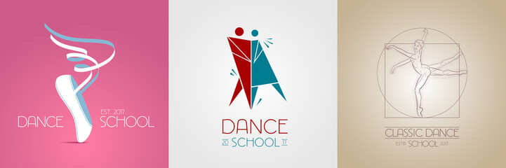 Dance studio vector logo, icon set. Template design element