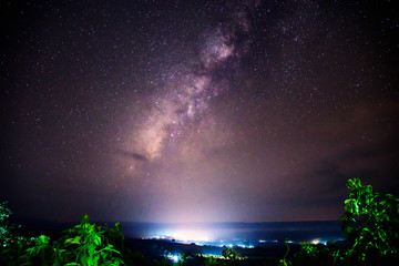 milky way on the sky in dark night