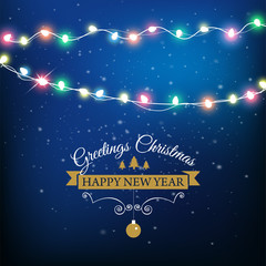 Abstract background for Merry Christmas or Happy New Year Card with Christmas lights and snowflakes. Vector illustration