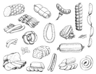 Vector set of different meat products in sketch style. Sausages, ham, bacon, lard, salami