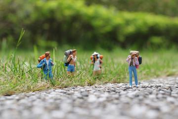 a  group hiker backpack traveler walking advenuture