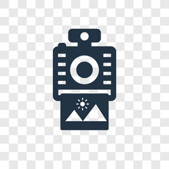 Instant camera vector icon isolated on transparent background, Instant camera transparency logo design