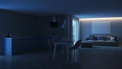 Modern house interior. Blue Kitchen. Night. Evening lighting. 3D rendering.