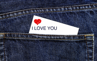 Love card in trouser pocket
