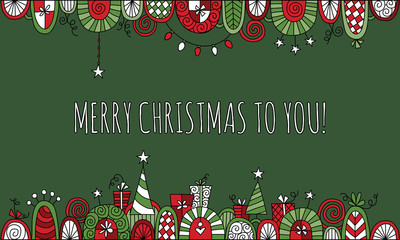 Merry Christmas to You with Hand Drawn Vector Doodle Border
