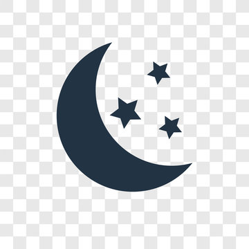 Moon vector icon isolated on transparent background, Moon transparency logo design