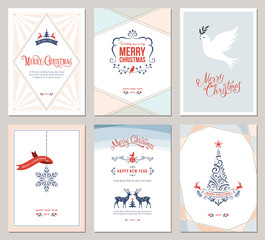 Elegant vertical winter holidays greeting cards with New Year tree, dove, reindeers, snowflake, Christmas ornaments and ornate typographic design. Vector illustration.