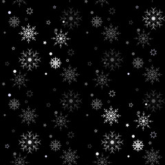 Winter Seamless Snowflake Pattern on black background. Vector EPS 10.