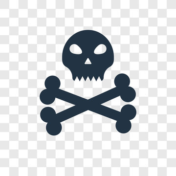 Skull and bones vector icon isolated on transparent background, Skull and bones transparency logo design