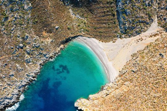 Bird's eye view of bay with beautiful beach near Sikati cave, Kalymnos, Greece