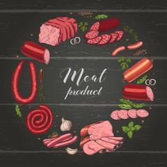 Isolated ring with different color meat products in sketch style.