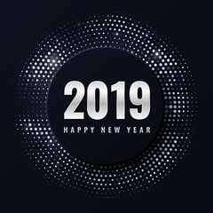 Happy New 2019 Year. Seasonal holiday vector illustration of silver numbers 2019 and retro glittering halftone pattern. Greeting card, poster or banner design template