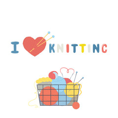 Basket with multi-colored balls of yarn and knitting needles. Vector illustration.Cartoon style