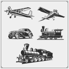 Set of retro transport. Airplane, train and car. Print design for t-shirts.