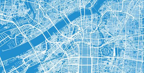 Urban vector city map of Osaka, Japan