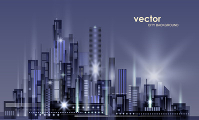 Night city background, with glowing lights, illustration with architecture, skyscrapers, megapolis, downtown