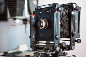 Old film camera.  close-up. Vintage photo