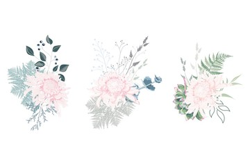 Floral spring summer card composition set for poster graphic design with pink Japanese chrysanthemum, succulents, fern and herbs. Romantic decorative bouquet.