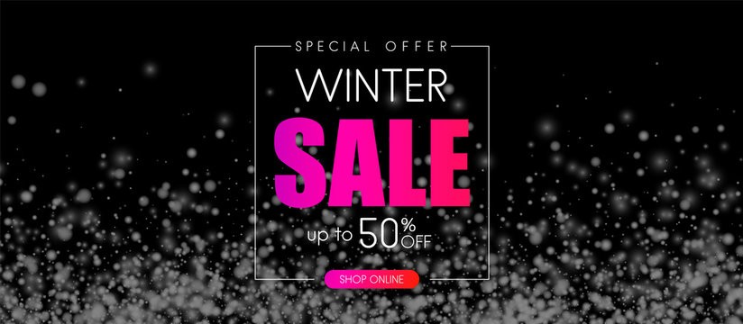Black winter 50% off sale. Promo banner with snow.