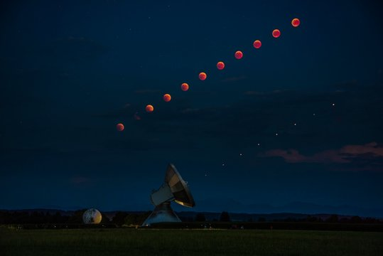 Satellite dish with blood moon and Mars as time lapse, lunar eclipse, night shot, Raisting, Upper Bavaria, Germany, Europe
