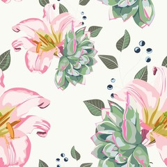Floral seamless pattern with summer herbs and pink royal lilies. White background.