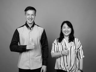 Portrait of multi ethnic diverse couple in studio