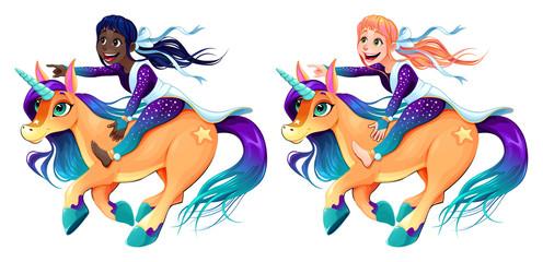Foto op Plexiglas Zeemeermin Couple of girls are riding the unicorns