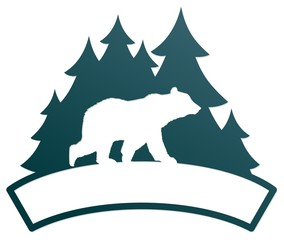 A bear symbol with the green coniferous forest.