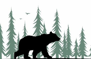 Bear silhouette with forest.