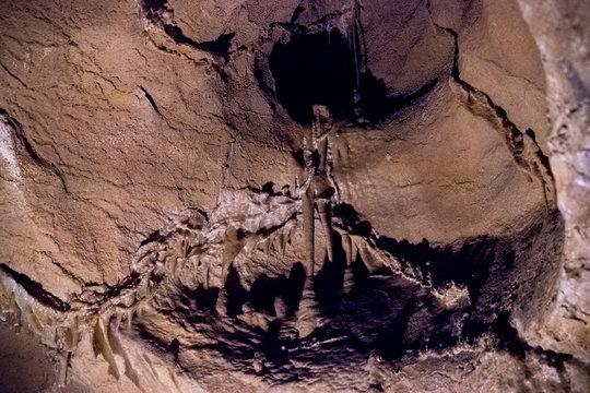 tourist landmark underground limestone cave with stalactites and stalagmites in the Crimea on mount AI-Petri