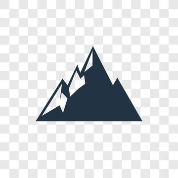 Mountain vector icon isolated on transparent background, Mountain transparency logo design